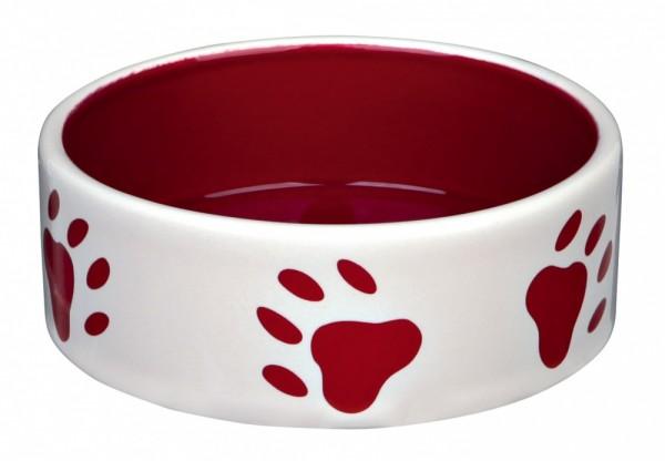 Trixie Keramiknapf mit Pfoten, 0,3 l/ø 12 cm, creme/rot