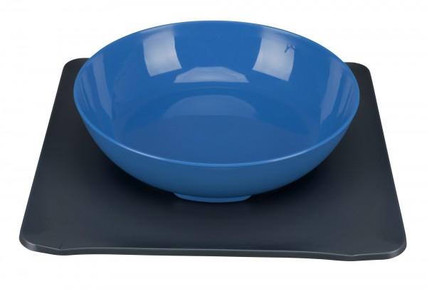 Yumminator Napf-System, Futternapf mit Unterlage, 850 ml/24x24 cm, blau/grau