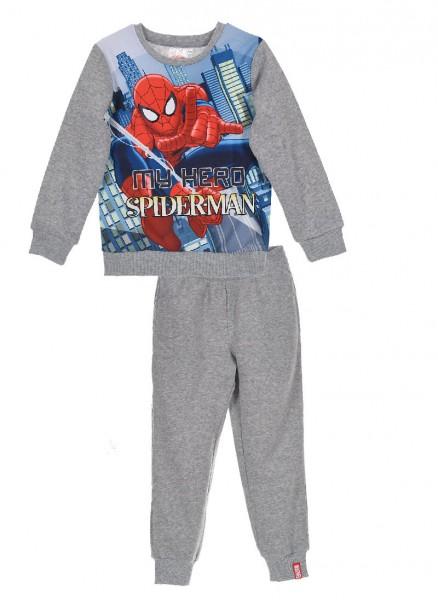 Spider-Man Jungen Jogginganzug Sweatshirt Hose, 2-teilig, grau