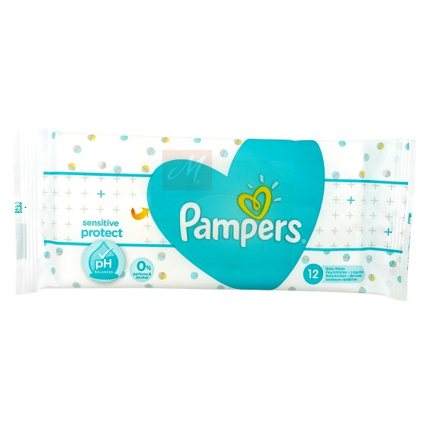 Pampers Feuchttücher Reisepack Sensitive mit Kamille (1 x 12 Stück)