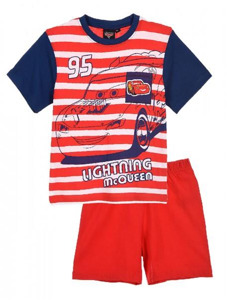 Disney Cars Lightning McQueen Jungen Schlafanzug T-Shirt Kurze Hose, 2-teilig, rot