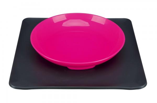 Yumminator Napf-System, Futternapf mit Unterlage, 400 ml/24x24 cm, pink/grau
