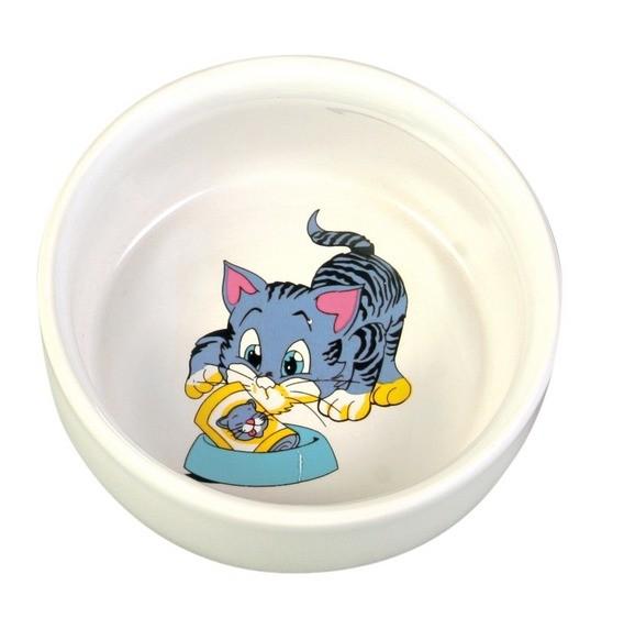 Trixie Keramiknapf mit Motiv, Katze, 0,3 l/ø 11 cm, weiß