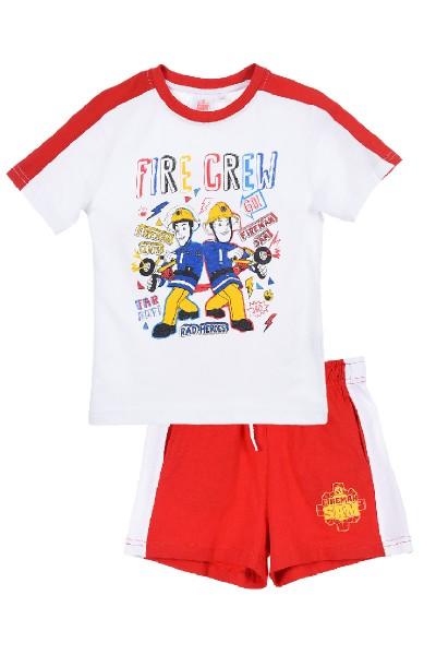Feuerwehrmann Sam Jungen Schlafanzug T-Shirt Short, 2-teilig, rot/weiß