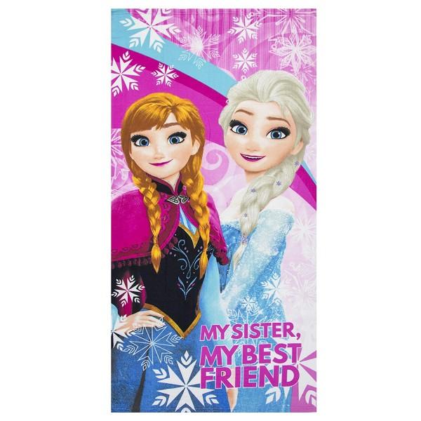 Disney Frozen Kinder Strandtuch Badetuch mit Anna & Elsa, 70x140 cm, pink