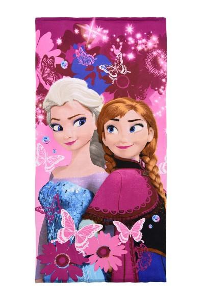 Disney Frozen Kinder Strandtuch Badetuch mit Elsa & Anna, 70x140 cm, pink