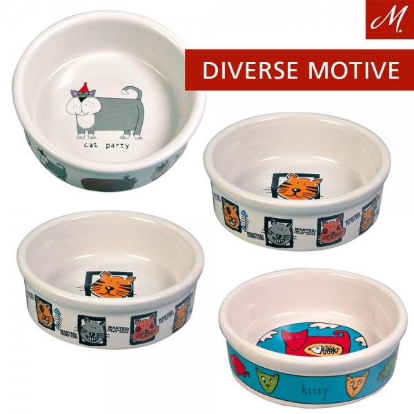 Trixie 4 Keramiknäpfe, Katze - 0,2L/ø 11 cm, weiß, diverse Motive