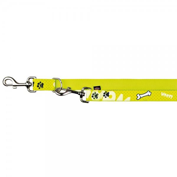 Trixie Modern Art Verlängerungsleine Woof, L-XL, 2,00 m/25 mm, gelb