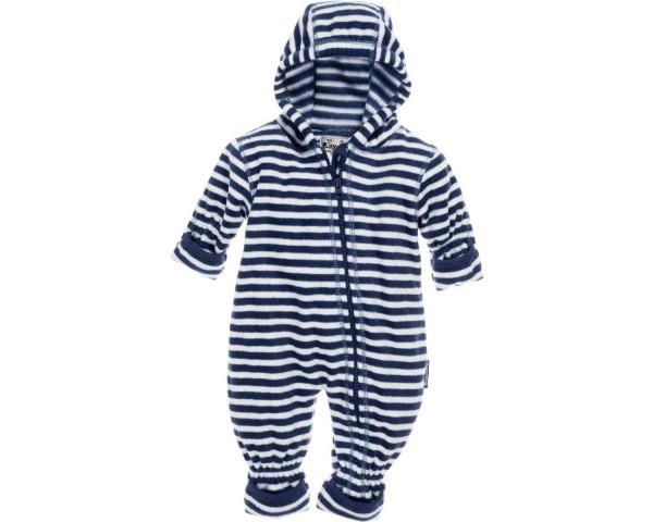 Playshoes Baby Fleece Overall Strampler mit Kapuze Maritim, marine/weiß
