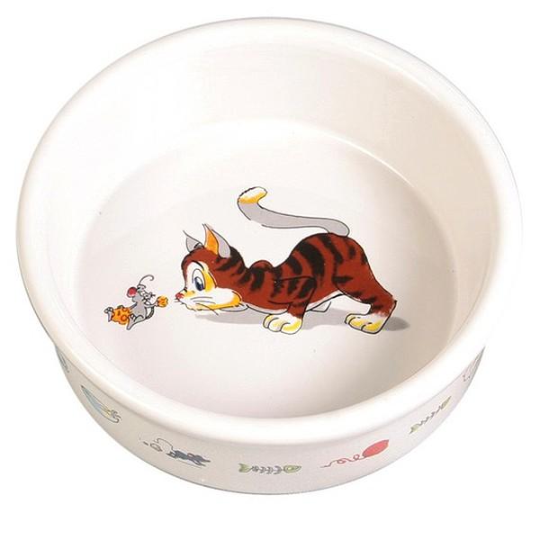 Keramiknapf mit Motiv, Katze und Maus, 0,2 l/ø 11 cm, weiß