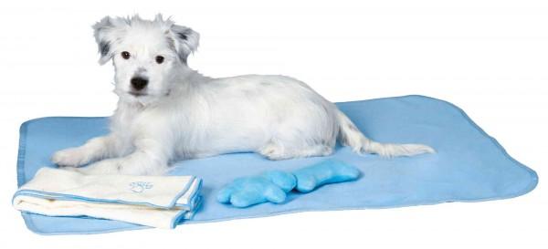Trixie Welpen-Set mit Decke, Spielzeug & Handtuch, hellblau