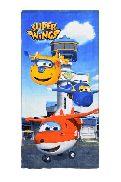 Super Wings Kinder Badetuch Duschtuch mit Donnie Jerome Jett, 70 x 140 cm, blau