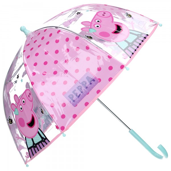 Peppa Wutz Kinder Regenschirm Stockschirm, ∅ 72 cm, rosa-transparent