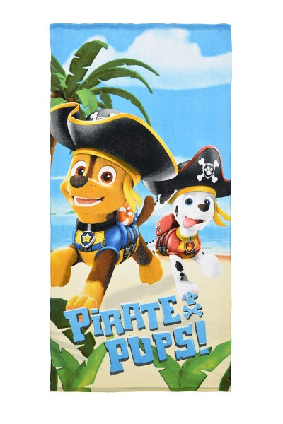 Paw Patrol Kinder Strandtuch Badetuch mit Chase & Marshall, 70x140 cm, türkis