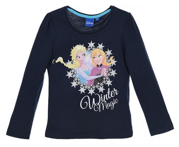 Disney Frozen Mädchen Langarmshirt mit Elsa & Anna, navy