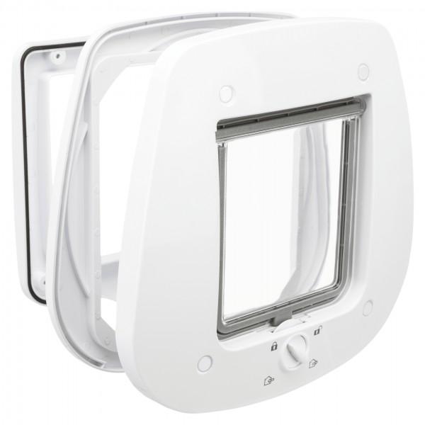 Trixie 4-Wege Katzen-Freilauftür für Glastüren aus Kunststoff, weiß, 27 x 26 cm