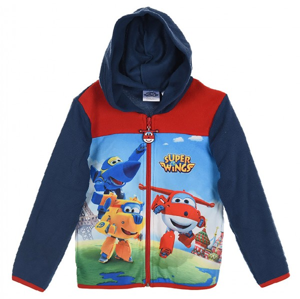 Super Wings Kinder Fleece-Kapuzenjacke mit Motiv, blau