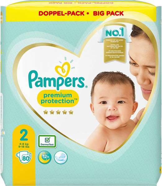 Pampers Premium Protection New Baby Windeln, Größe 2, 4-8 kg (1x 80 Stück)