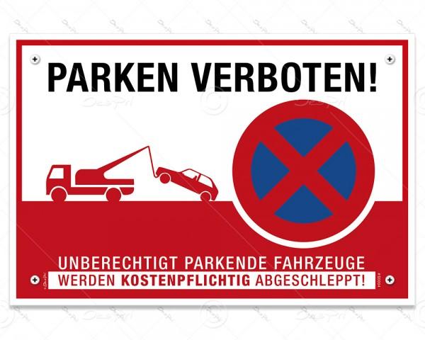 """Despri Schild """"Parken verboten"""", S0004, Aluverbund, 3 mm, 30x20 cm, UV-Lack, 4x gebohrt"""