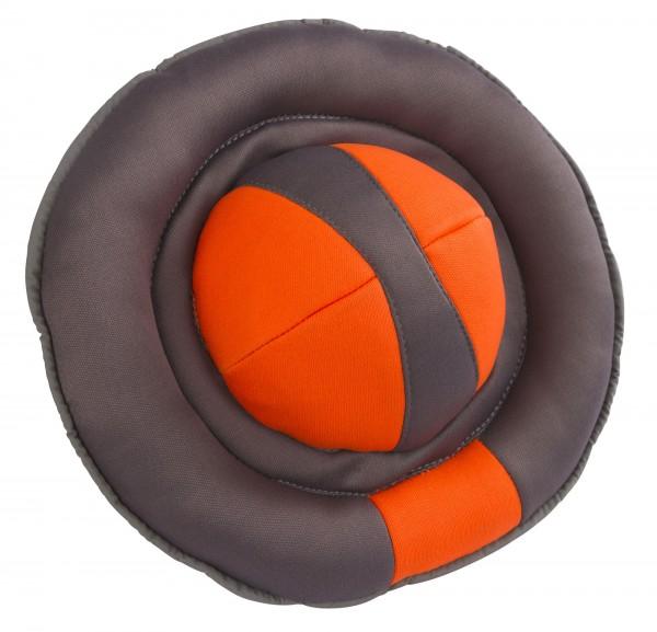 Kerbl Frisbee Hundespielzeug, grau-orange, Ø 22 cm