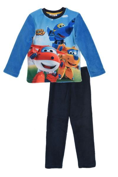 Super Wings Kinder Kuscheliger Schlafanzug mit Jett Jerome Donnie Motiv, 2-teilig, blau