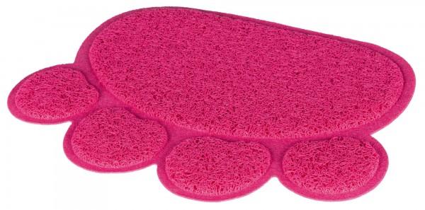 Trixie Vorleger für Katzentoiletten, Pfote, PVC, pink, 40 x 30 cm