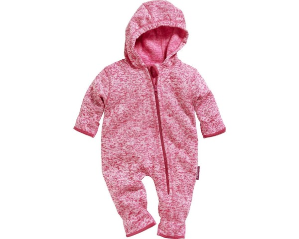 Playshoes Baby Strickfleece-Overall Strampler mit Kapuze, pink