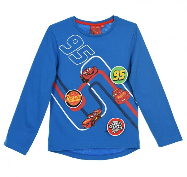 Disney Cars Kinder Langarmshirt mit Lightning McQueen Motiv, blau