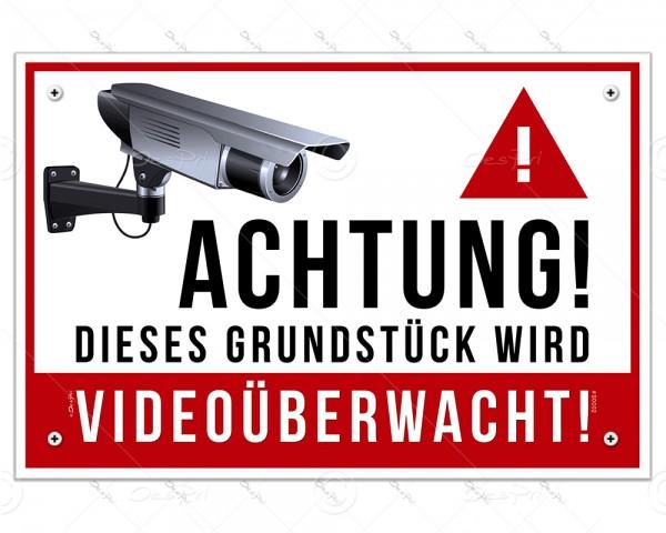 Despri Schild - Videoüberwachung, S0002, 30x20 cm, Aluverbund, 3mm, UV-Lack, 4-fach Eckbohrungen