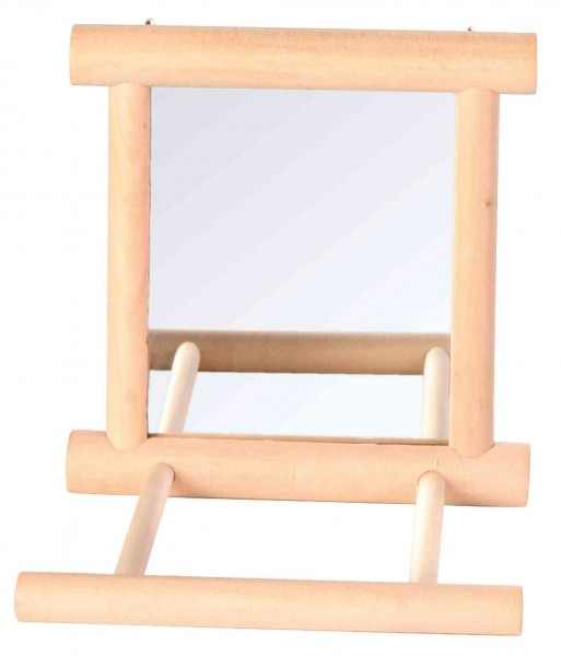 Trixie Spiegel mit Holzrahmen für Vögel, mit Landeplatz, 9x9cm