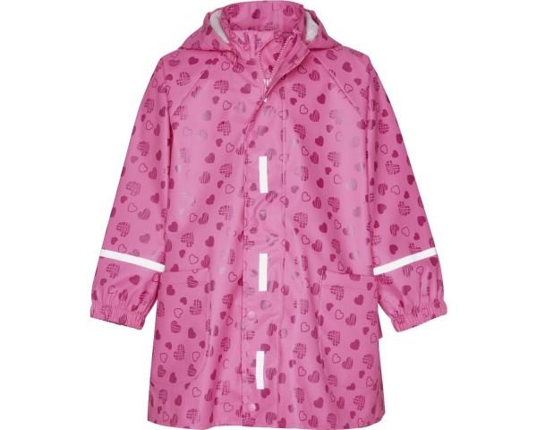 Playshoes Mädchen Regenmantel Jacke mit Kapuze Herzenmotiv, pink
