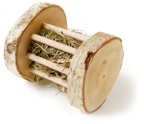 Heuroller, Birkenraufe mit Heu gefüllt, Ø11x12cm, Spielrolle für Nager