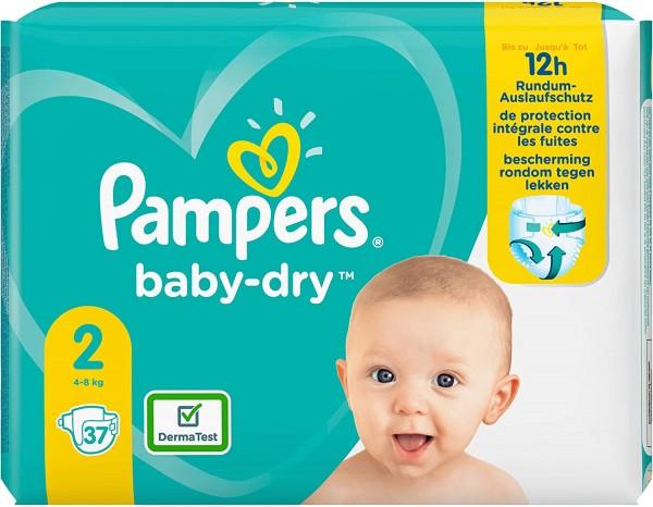 Pampers Baby Dry Windeln, Größe 2, 4-8 kg (1x 37 Stück)