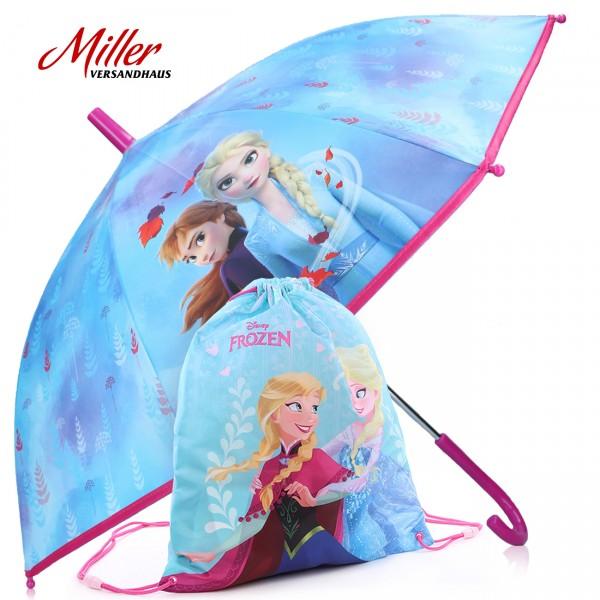 """2-tlg. Sparset - Disney """"Frozen"""", Kinder Regenschirm, ∅ 72 cm + Sportbeutel, Geschenkidee, MG002"""