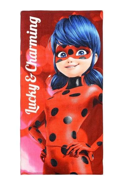 Miraculous Ladybug Kinder Strandtuch Badetuch, 70x140 cm, pink