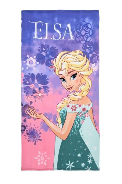 Disney Frozen Kinder Strandtuch mit Elsa Motiv, 70x140 cm, lila