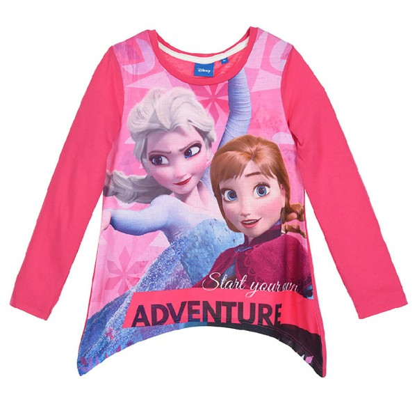 Disney Frozen Kinder Langarmshirt mit Elsa & Anna, fuchsia