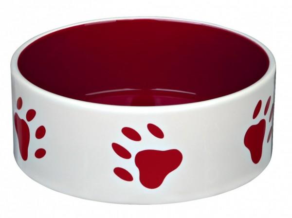 Trixie Keramiknapf mit Pfoten, 0,8 l/ø 16 cm, creme/rot