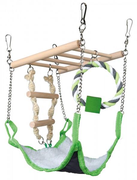 Trixie Hängebrücke mit Hängematte für Kleinnager wie Mäuse, Hamster, 17x22x15 cm