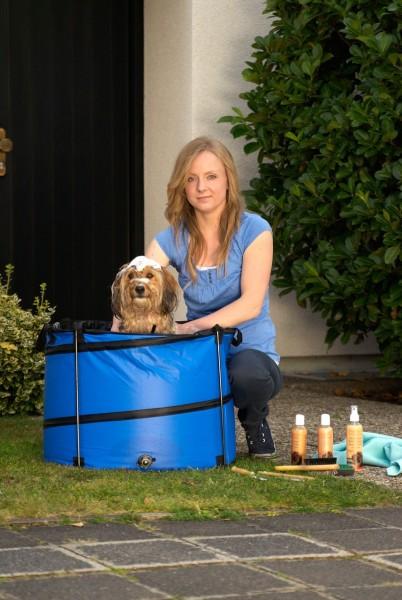 Quick Wash Hundepool - 60 cm, rund, blau - der Swimmingpool für kleine Hunde