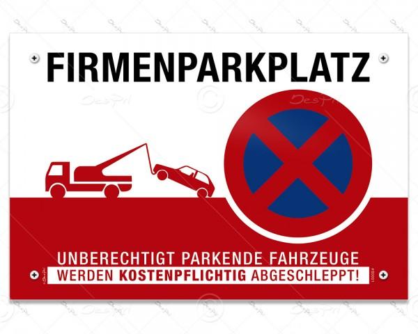 Despri Schild - Firmenparkplatz, Aluverbund, 3 mm, 30x20 cm, UV-Lack, 4x gebohrt