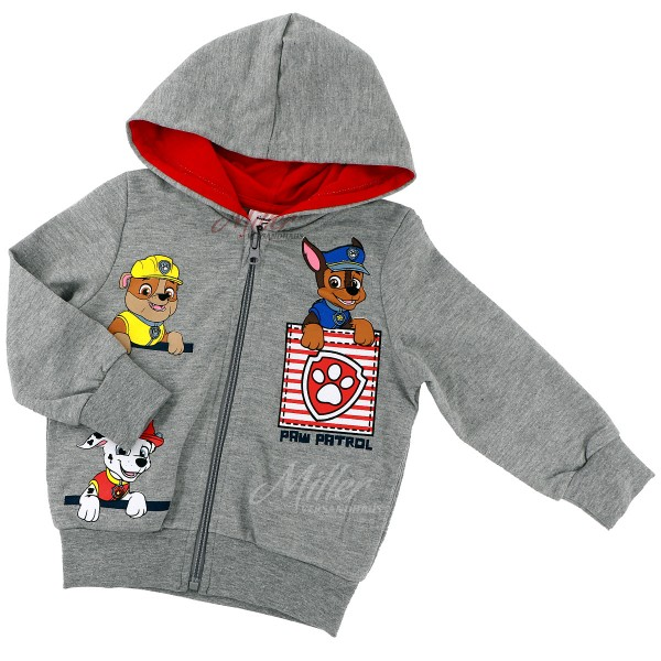 Paw Patrol Jungen Sweatjacke mit Rubble Chase & Marshall, grau