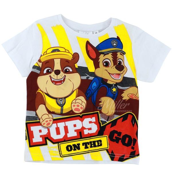 Paw Patrol Jungen T-Shirt mit Rubble & Chase Motiv, weiß
