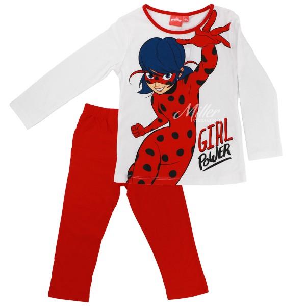 Miraculous Ladybug Mädchen Schlafanzug Langarmshirt Hose, 2-teilig, weiß