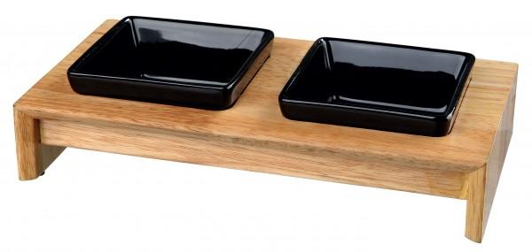 Trixie Napf-Set, Keramik/Holz - 2x0,2 l/10 cm, 28x5x15 cm, schwarz, für Hunde