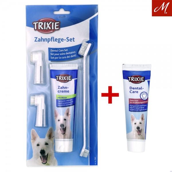 Zahnpflege-Set, Zahnbürste, Zahnbürsten Finger und Zahnpasta Minze + Rindfleischgeschmack