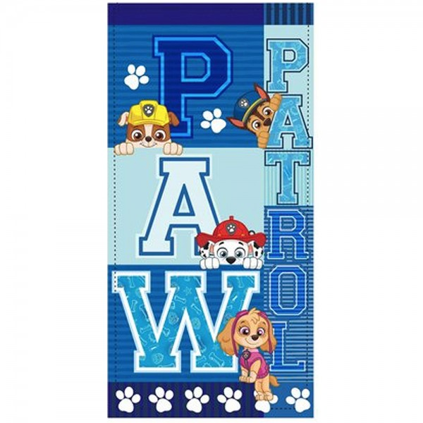 Paw Patrol Kinder Strandtuch mit Rubble Chase Marshall Skye, 70x140 cm, blau