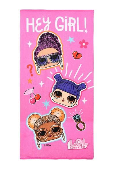 """L.O.L Surprise Kinder Badetuch Strandtuch """"Hey Girl!"""", 70 x 140 cm, pink"""