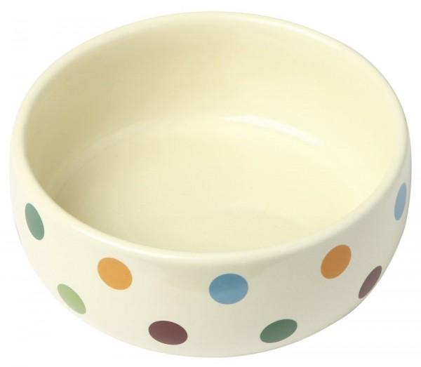 Kerbl Keramiknapf Dots, glasiert für Hunde und Katzen, 300 ml