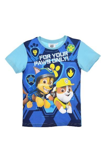 Paw Patrol Jungen T-Shirt mit Chase Rubble, blau